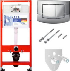 Комплект: монтажная рама для унитаза, с панелью смыва TECE ambia, пластик, хром+крепление (9400005)