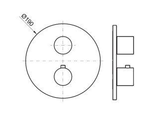 Noken Rondo верхняя часть термостатического смесителя, 1,2,3 выхода, черный, 100212603